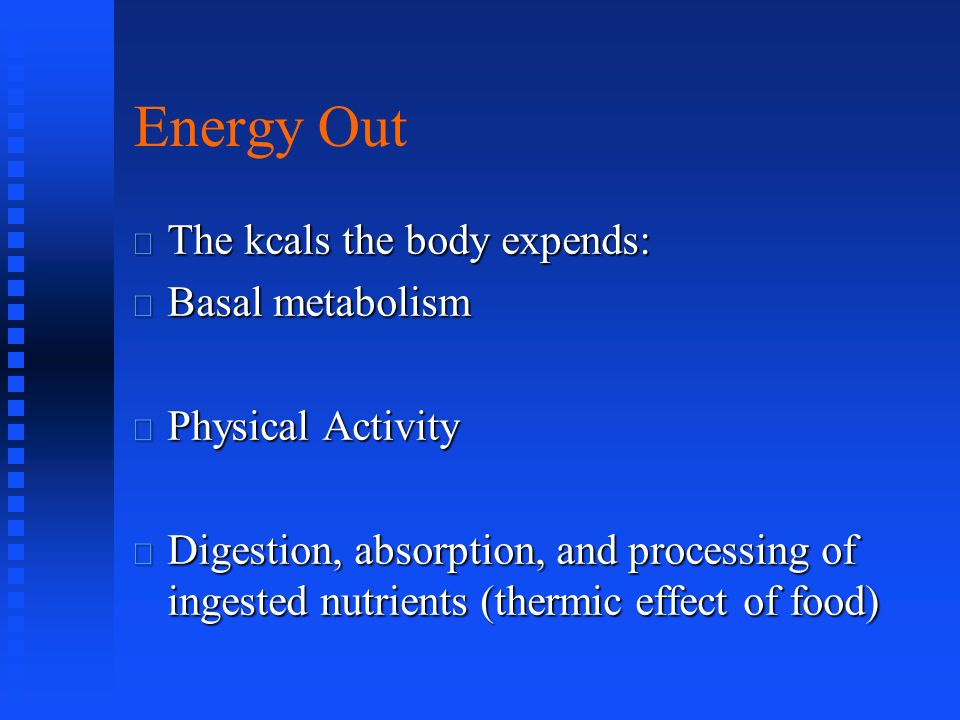 Components of Energy Expenditure Physical activities Thermic effect of food Basal metabolism