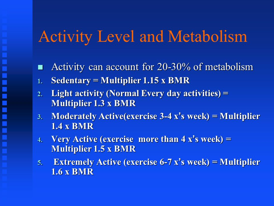 Activity Level and Metabolism Activity can account for 20-30% of metabolism Activity can account for 20-30% of metabolism 1. Sedentary = Multiplier 1.