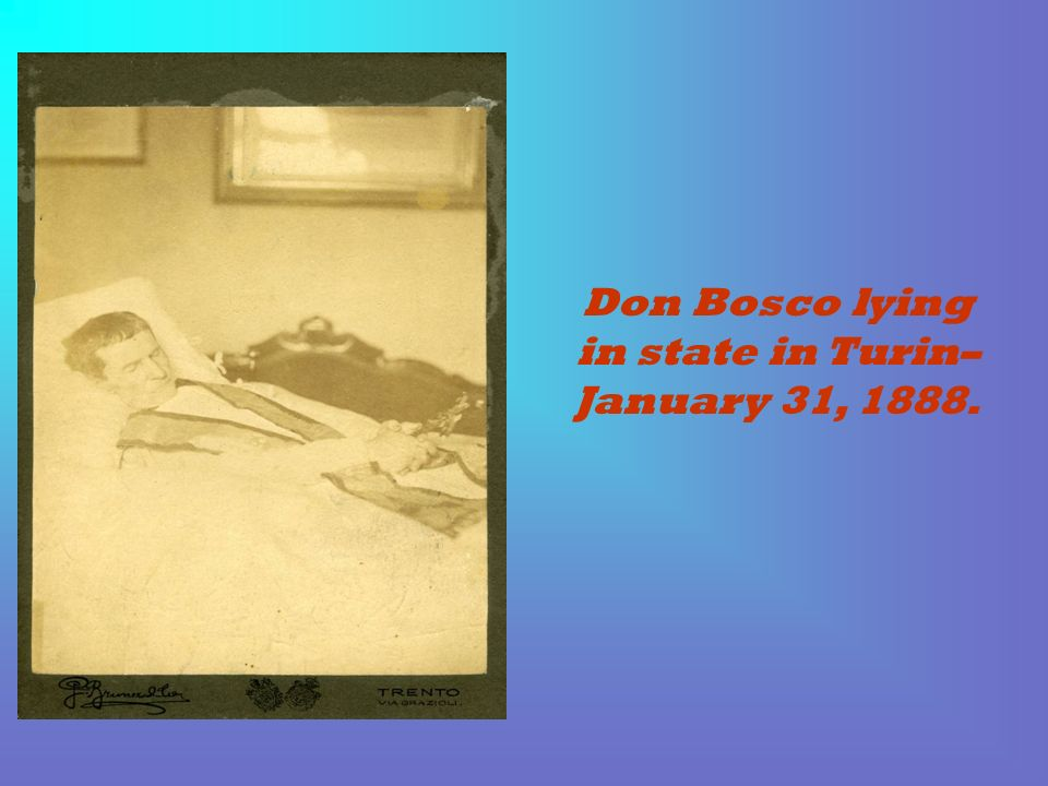 Don Bosco lying in state in Turin– January 31, 1888.