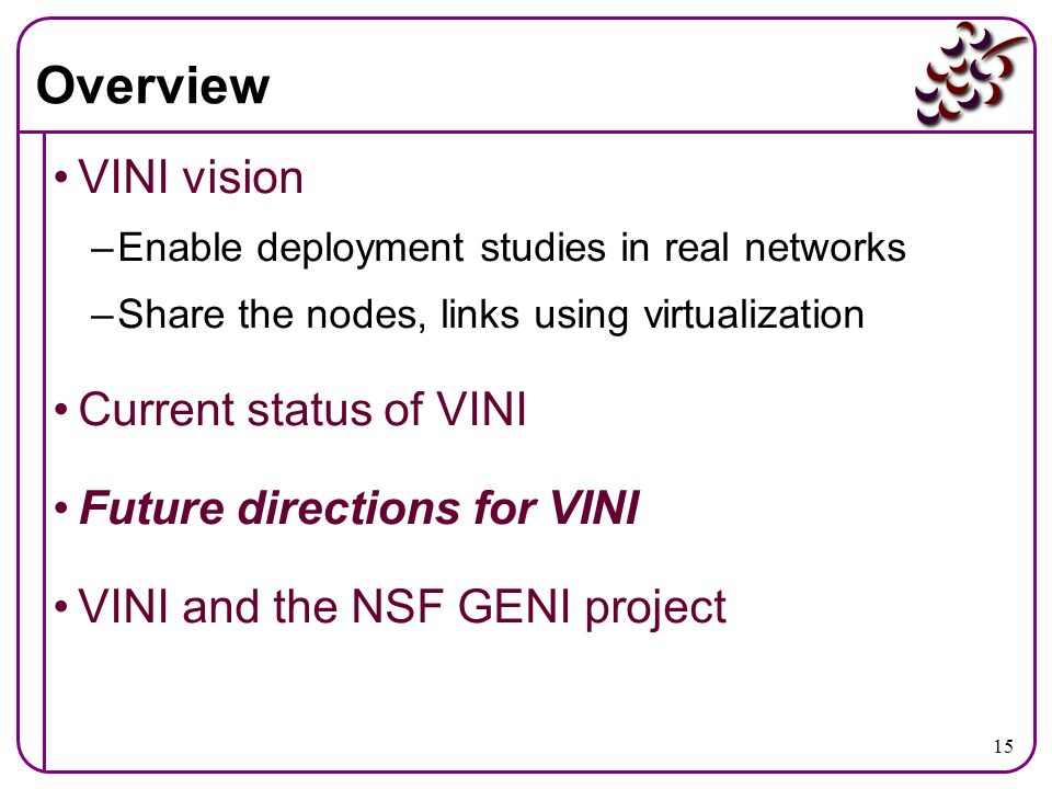 15 Overview VINI vision –Enable deployment studies in real networks –Share the nodes, links using virtualization Current status of VINI Future directi