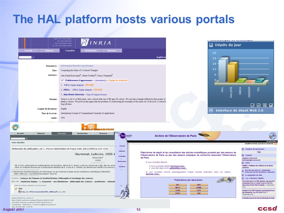 August 2007 10 The HAL platform hosts various portals