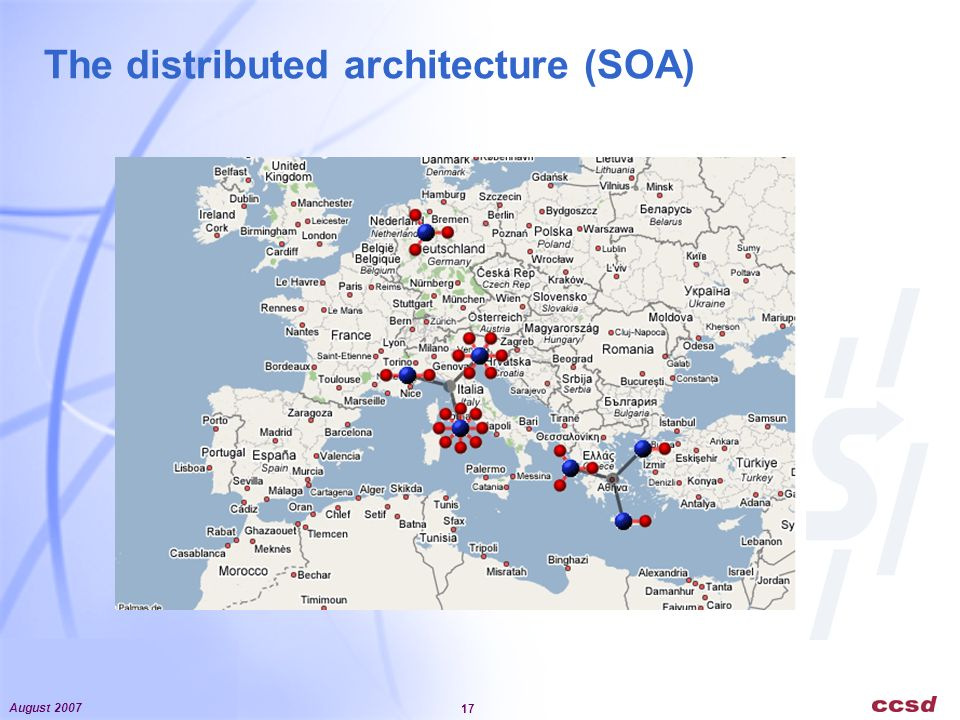 August 2007 17 The distributed architecture (SOA)