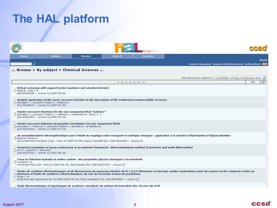 August 2007 8 The HAL platform