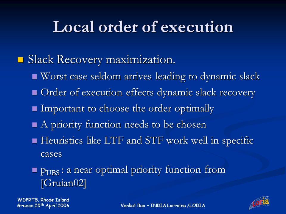 WDPRTS, Rhode Island Greece 25 th April 2006 Venkat Rao – INRIA Lorraine /LORIA Local order of execution Slack Recovery maximization.