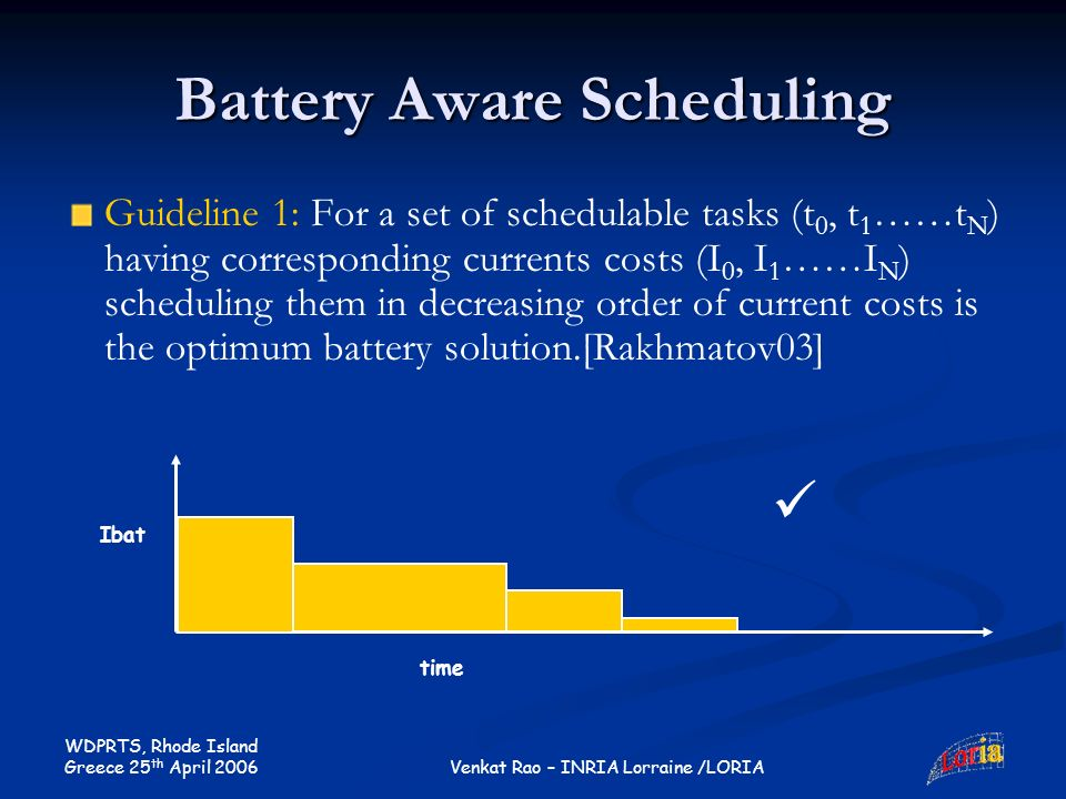 WDPRTS, Rhode Island Greece 25 th April 2006 Venkat Rao – INRIA Lorraine /LORIA Battery Aware Scheduling Guideline 1: For a set of schedulable tasks (