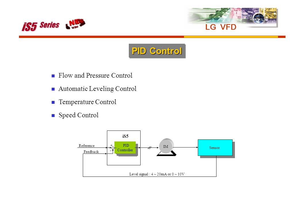 PID Control Flow and Pressure Control Automatic Leveling Control Temperature Control Speed Control IM Sensor Reference Feedback iS5 PID Controller PID