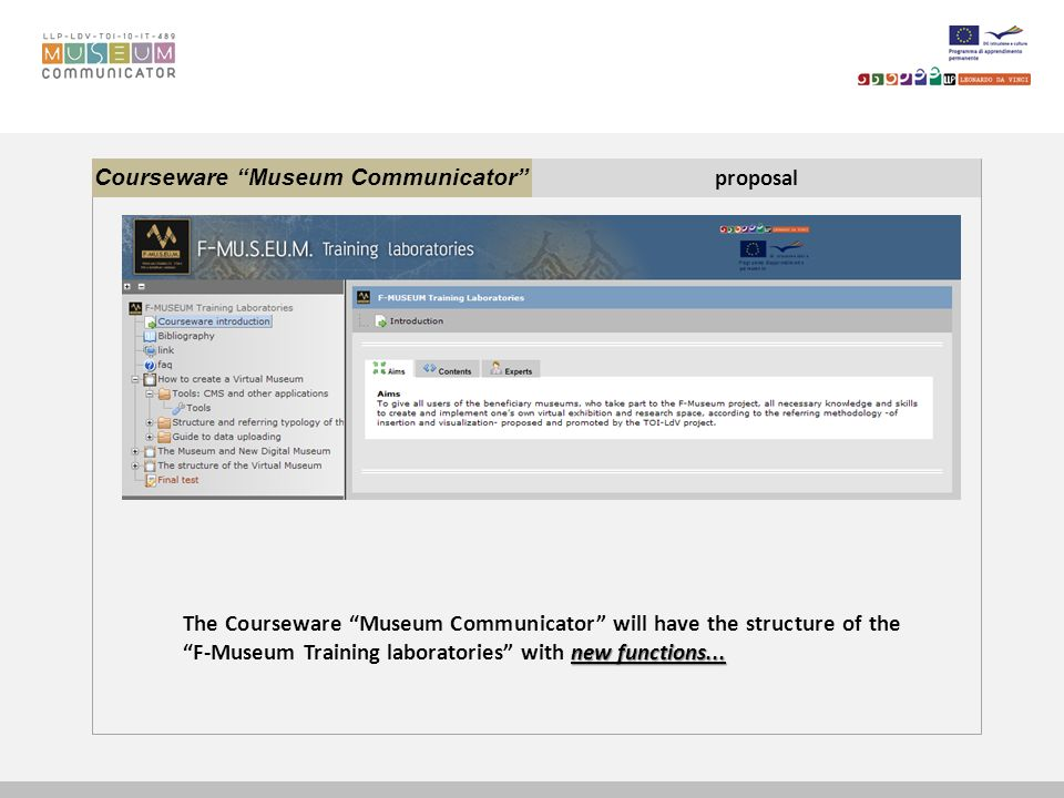 Courseware Museum Communicator proposal new functions... The Courseware Museum Communicator will have the structure of the F-Museum Training laborator