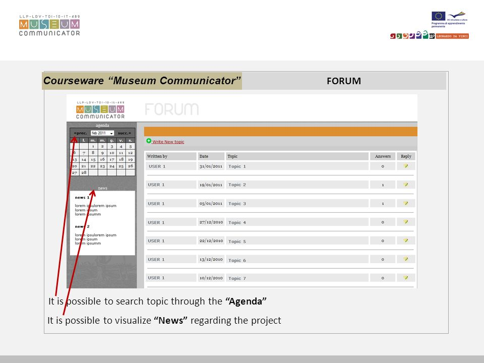 Courseware Museum Communicator FORUM It is possible to search topic through the Agenda It is possible to visualize News regarding the project