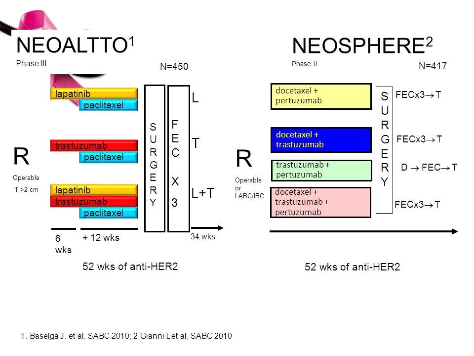 3 1. Baselga J. et al, SABC 2010; 2 Gianni L et al, SABC 2010 SURGERYSURGERY lapatinib trastuzumab lapatinib trastuzumab paclitaxel + 12 wks 6 wks doc