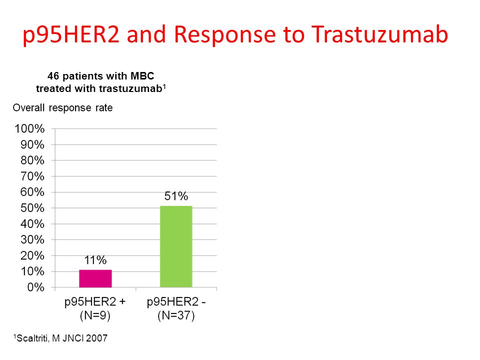 p95HER2 and Response to Trastuzumab 46 patients with MBC treated with trastuzumab 1 1 Scaltriti, M JNCI 2007