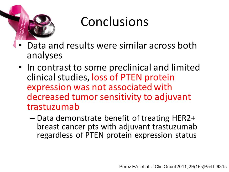 Conclusions Data and results were similar across both analyses In contrast to some preclinical and limited clinical studies, loss of PTEN protein expr