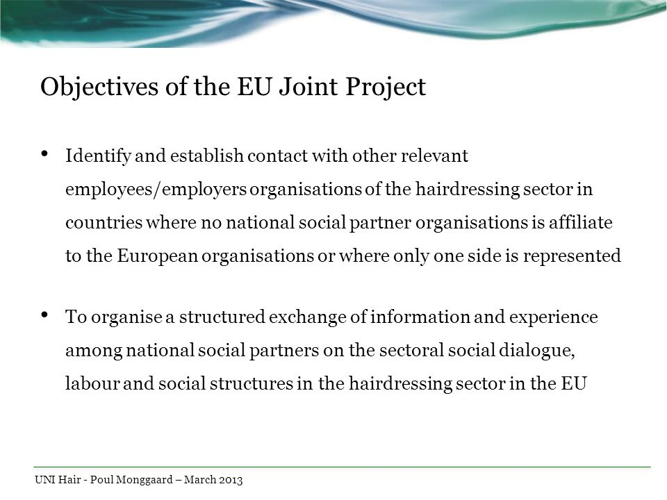Objectives of the EU Joint Project Identify and establish contact with other relevant employees/employers organisations of the hairdressing sector in
