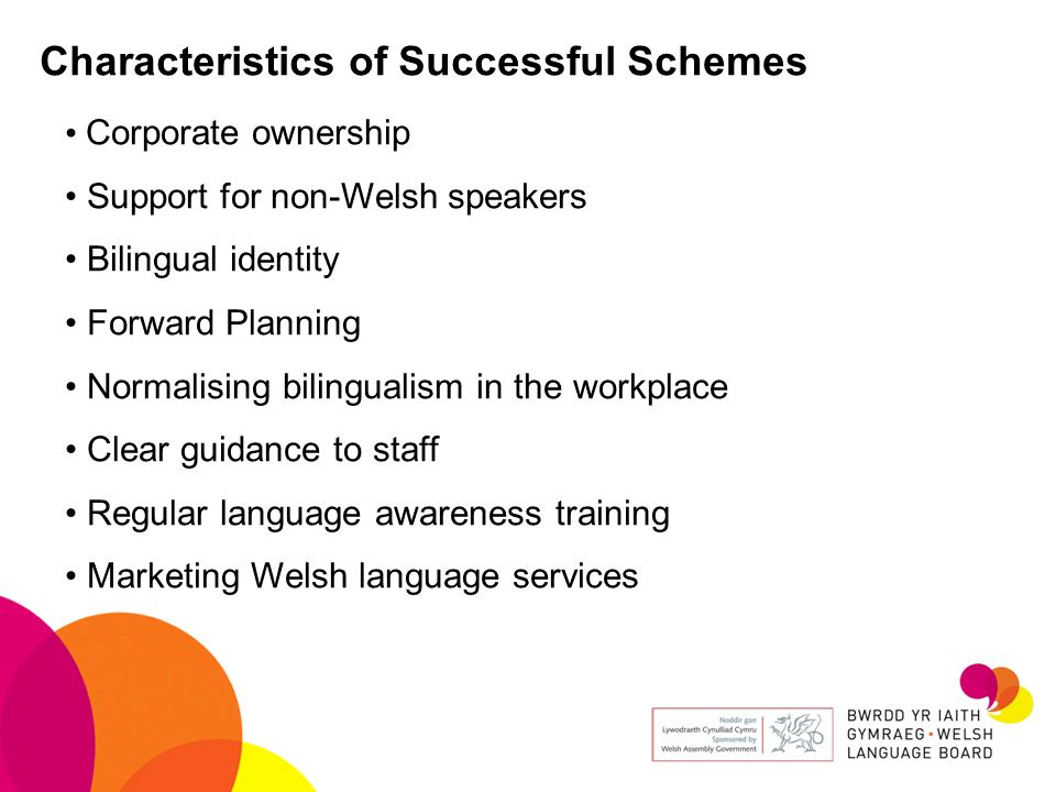 Characteristics of Successful Schemes Corporate ownership Support for non-Welsh speakers Bilingual identity Forward Planning Normalising bilingualism