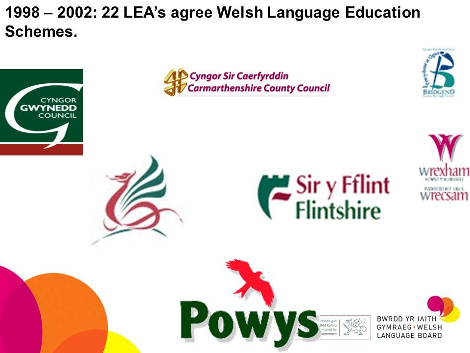 1998 – 2002: 22 LEAs agree Welsh Language Education Schemes.