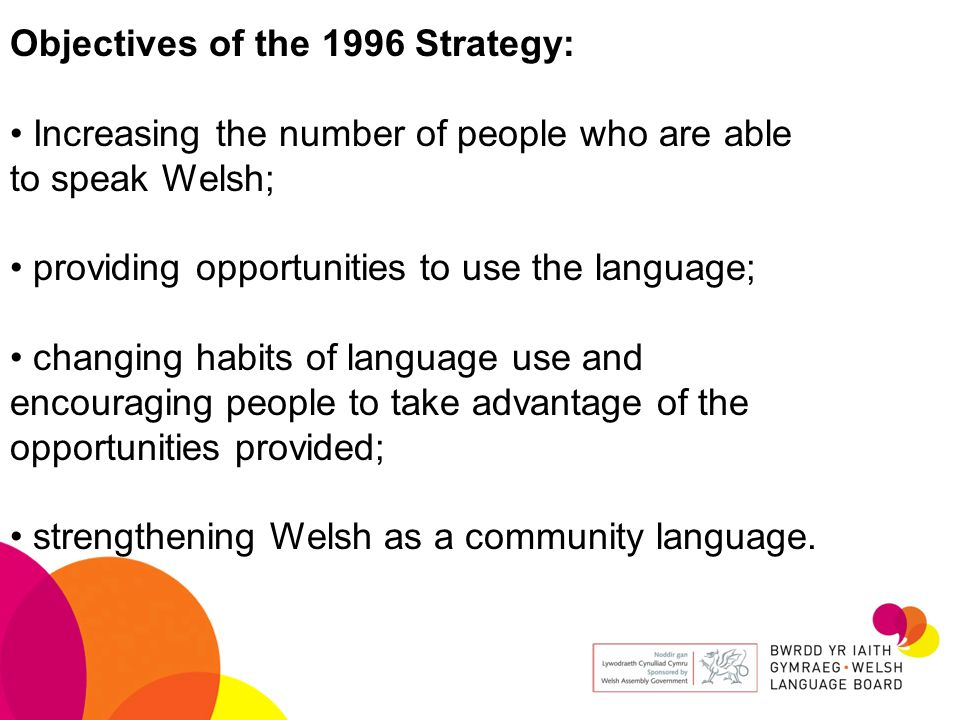Objectives of the 1996 Strategy: Increasing the number of people who are able to speak Welsh; providing opportunities to use the language; changing ha