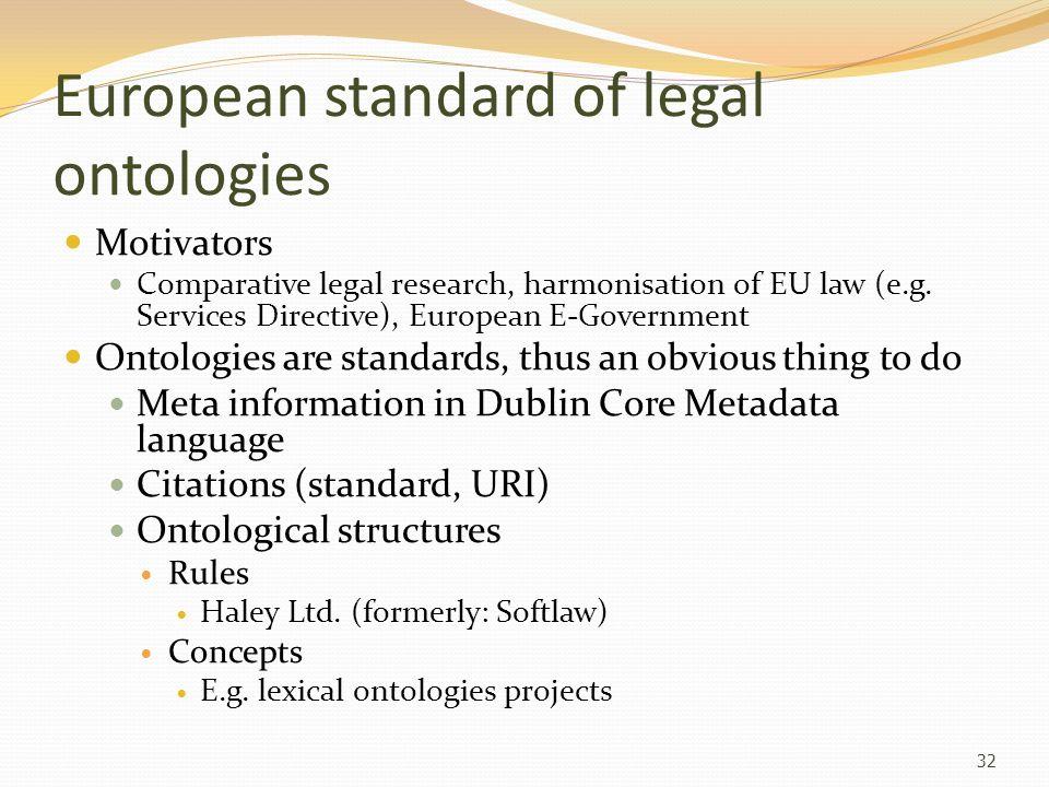 European standard of legal ontologies Motivators Comparative legal research, harmonisation of EU law (e.g. Services Directive), European E-Government