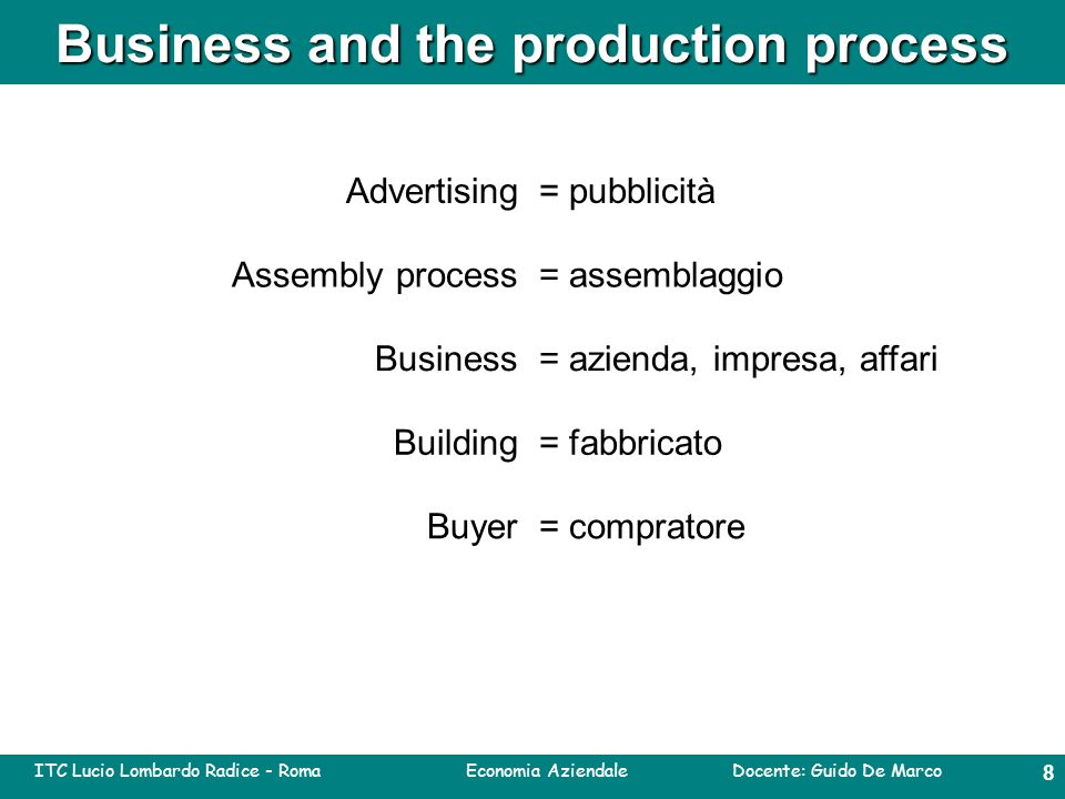 ITC Lucio Lombardo Radice - Roma Economia Aziendale Docente: Guido De Marco 7 Business and the production process Tertiary production or Tertiary sector: this refers to the commercial services that support the production and distribution of goods and the provision of services, and direct services as insurance, transport, advertising, warehousing, education, communications, tourism, healthcare, legal services, social services.