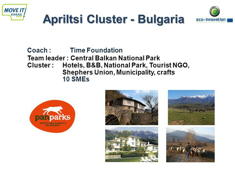 Apriltsi Cluster - Bulgaria Coach : Time Foundation Team leader : Central Balkan National Park Cluster : Hotels, B&B, National Park, Tourist NGO, Shephers Union, Municipality, crafts 10 SMEs