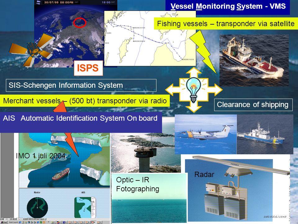 Vessel Monitoring System - VMS Optic – IR Fotographing Radar IMO 1 juli 2004 Fishing vessels – transponder via satellite Merchant vessels – (500 bt) t