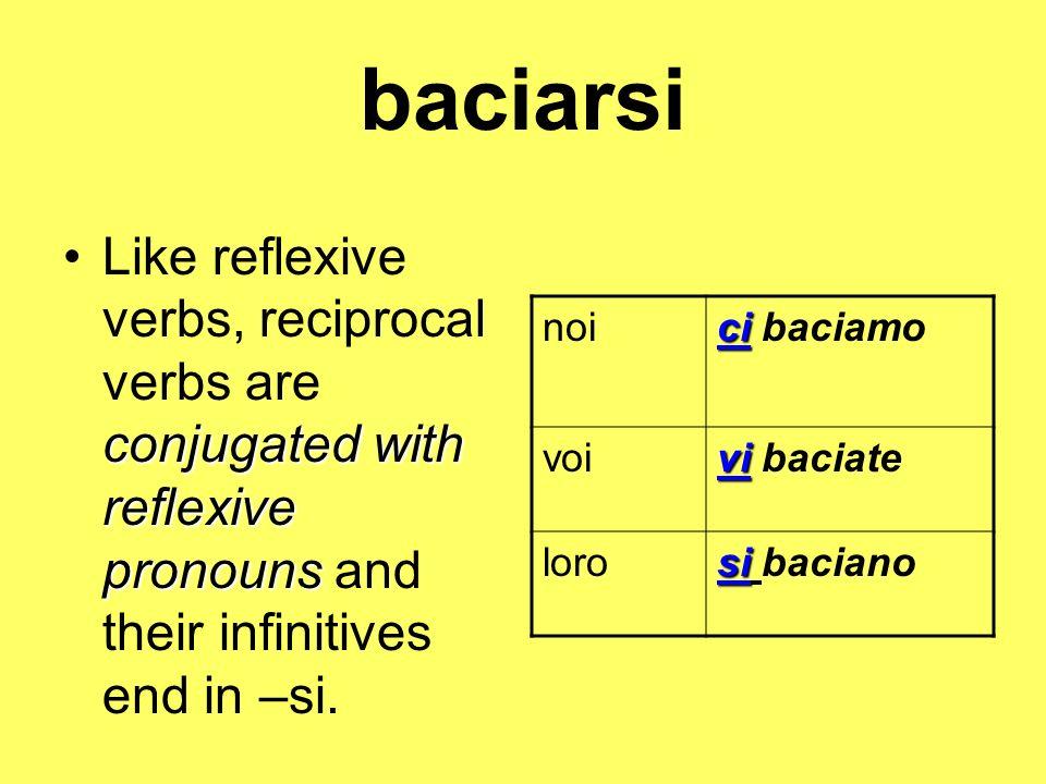 baciarsi conjugated with reflexive pronounsLike reflexive verbs, reciprocal verbs are conjugated with reflexive pronouns and their infinitives end in