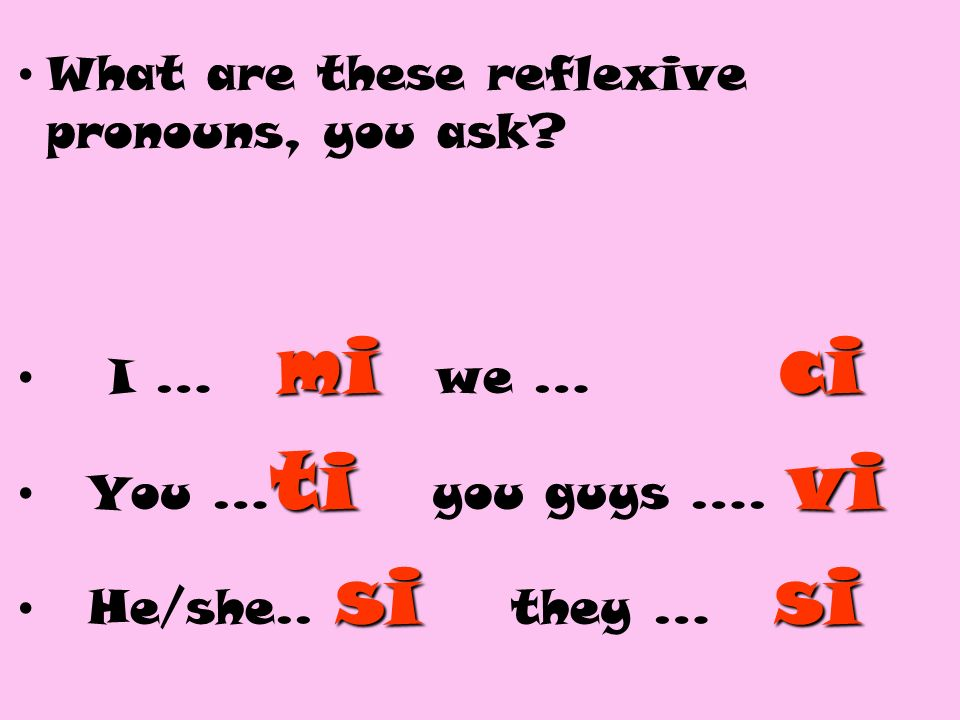 What are these reflexive pronouns, you ask? mici I … mi we … ci tivi You … ti you guys …. vi sisi He/she.. si they … si
