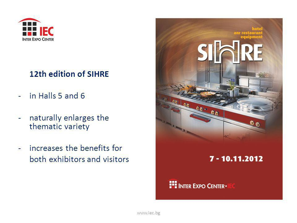SIHRE 12th edition of SIHRE -in Halls 5 and 6 -naturally enlarges the thematic variety - increases the benefits for both exhibitors and visitors www.i