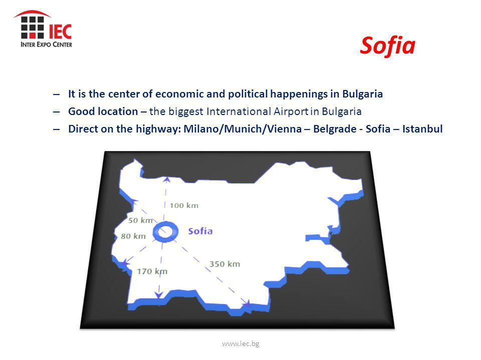 Sofia – It is the center of economic and political happenings in Bulgaria – Good location – the biggest International Airport in Bulgaria – Direct on the highway: Milano/Munich/Vienna – Belgrade - Sofia – Istanbul www.iec.bg