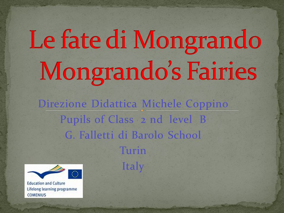 Direzione Didattica Michele Coppino Pupils of Class 2 nd level B G.