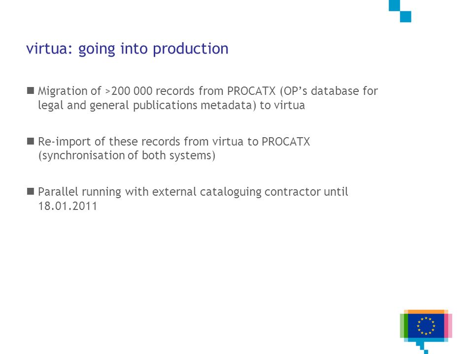 virtua: going into production Migration of >200 000 records from PROCATX (OPs database for legal and general publications metadata) to virtua Re-impor