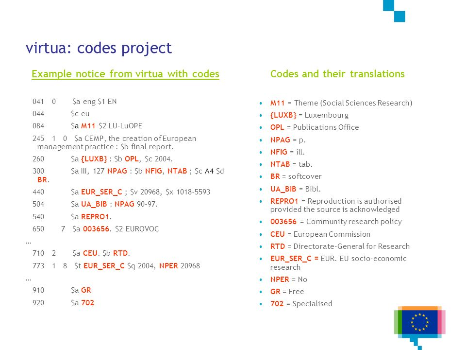 virtua: codes project Example notice from virtua with codes 041 0 $a eng $1 EN 044 $c eu 084 $a M11 $2 LU-LuOPE 245 1 0 $a CEMP, the creation of Europ