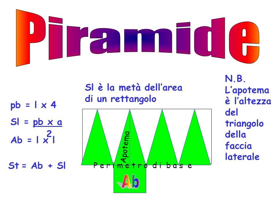 Per trovare lapotema bisogna applicare il teorema di Pitagora Altezza cateto Apotema di base =1/2 l cateto Apotema ipotenusa altezza VO apotema di bas