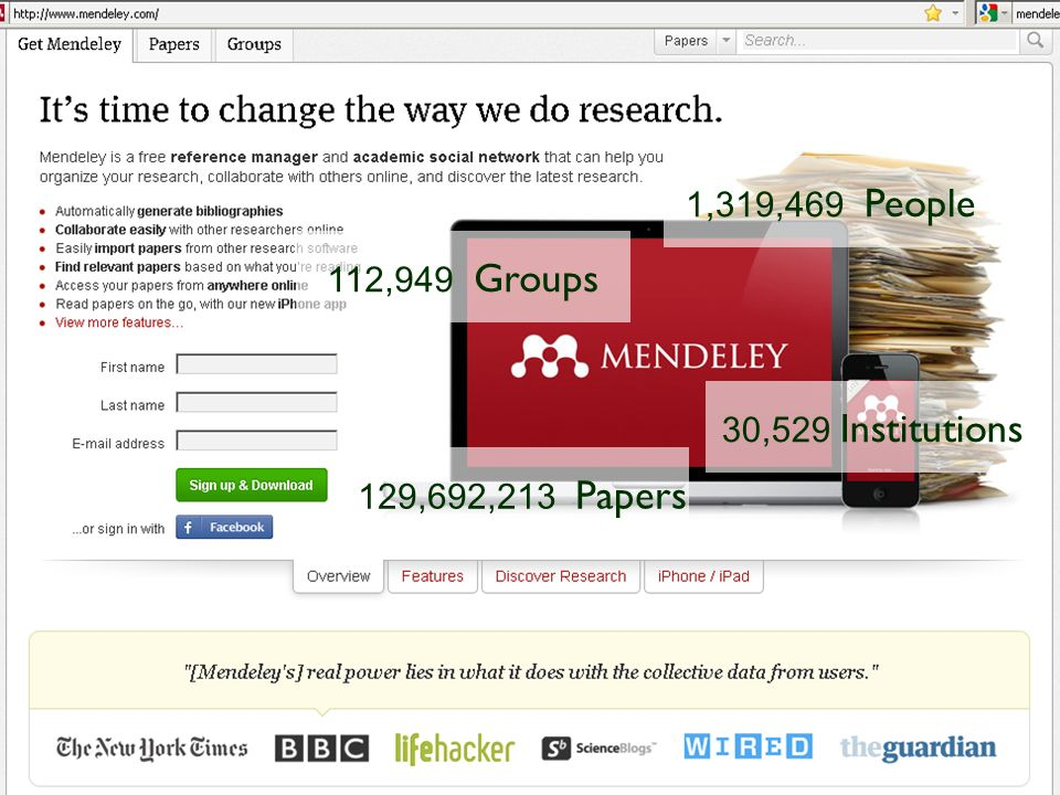 Mendeley 129,692,213 Papers 1,319,469 People 112,949 Groups 30,529 Institutions