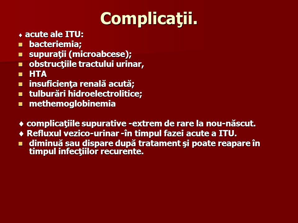 Complicaţii. acute ale ITU: acute ale ITU: bacteriemia; bacteriemia; supuraţii (microabcese); supuraţii (microabcese); obstrucţiile tractului urinar,
