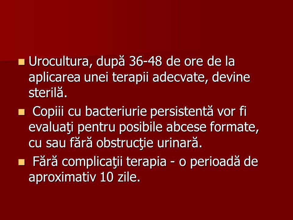 Urocultura, după 36-48 de ore de la aplicarea unei terapii adecvate, devine sterilă. Urocultura, după 36-48 de ore de la aplicarea unei terapii adecva