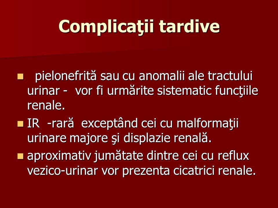 Complicaţii tardive pielonefrită sau cu anomalii ale tractului urinar - vor fi urmărite sistematic funcţiile renale. pielonefrită sau cu anomalii ale