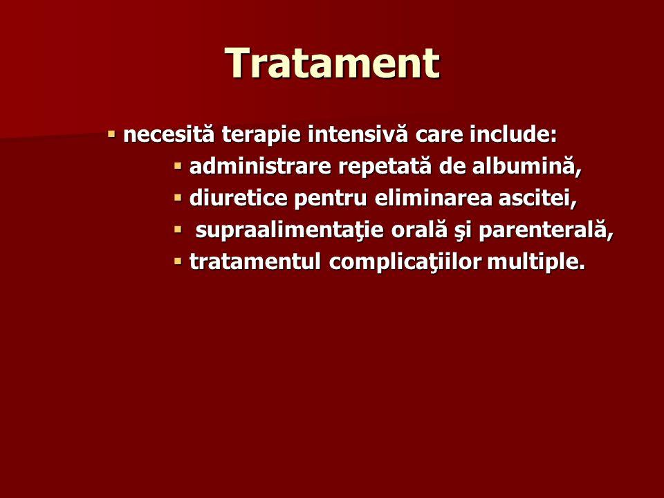 Tratament necesită terapie intensivă care include: necesită terapie intensivă care include: administrare repetată de albumină, administrare repetată d