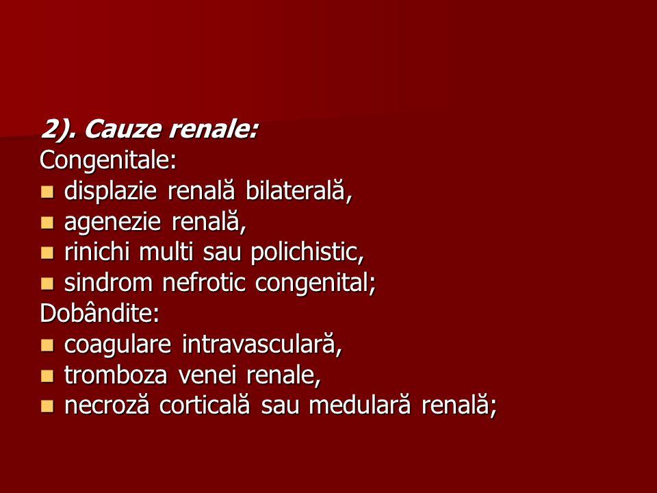 2). Cauze renale: Congenitale: displazie renală bilaterală, displazie renală bilaterală, agenezie renală, agenezie renală, rinichi multi sau polichist