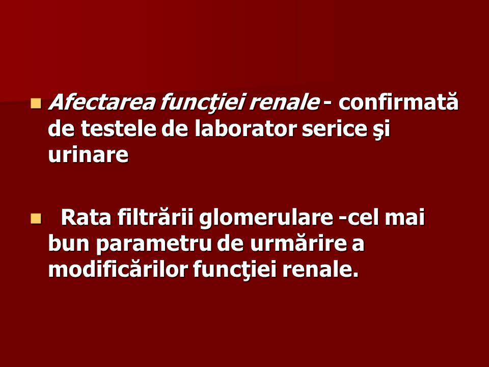 Afectarea funcţiei renale - confirmată de testele de laborator serice şi urinare Afectarea funcţiei renale - confirmată de testele de laborator serice