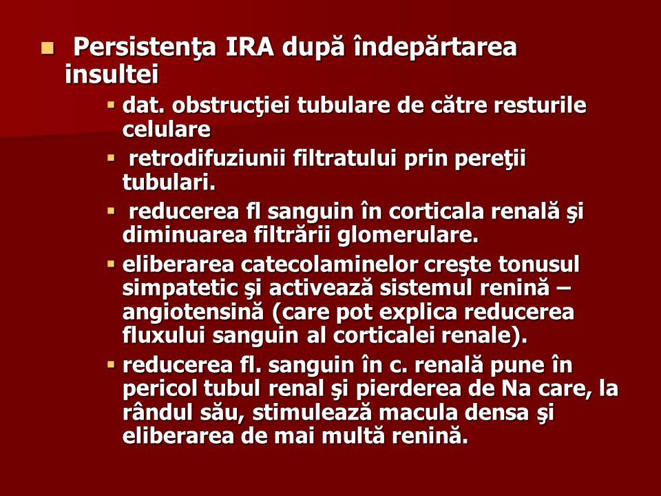 Persistenţa IRA după îndepărtarea insultei Persistenţa IRA după îndepărtarea insultei dat. obstrucţiei tubulare de către resturile celulare dat. obstr