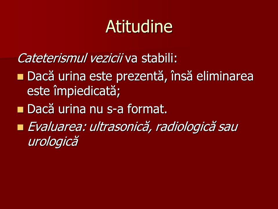 Atitudine Cateterismul vezicii va stabili: Dacă urina este prezentă, însă eliminarea este împiedicată; Dacă urina este prezentă, însă eliminarea este