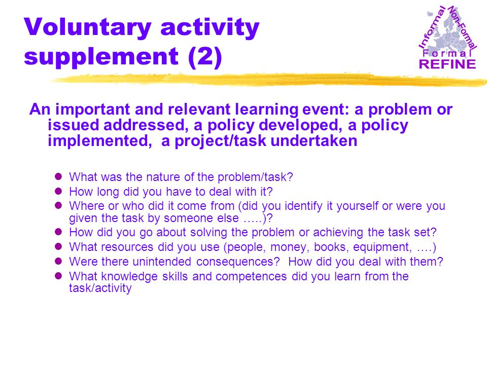 Voluntary activity supplement (2) An important and relevant learning event: a problem or issued addressed, a policy developed, a policy implemented, a project/task undertaken lWhat was the nature of the problem/task.