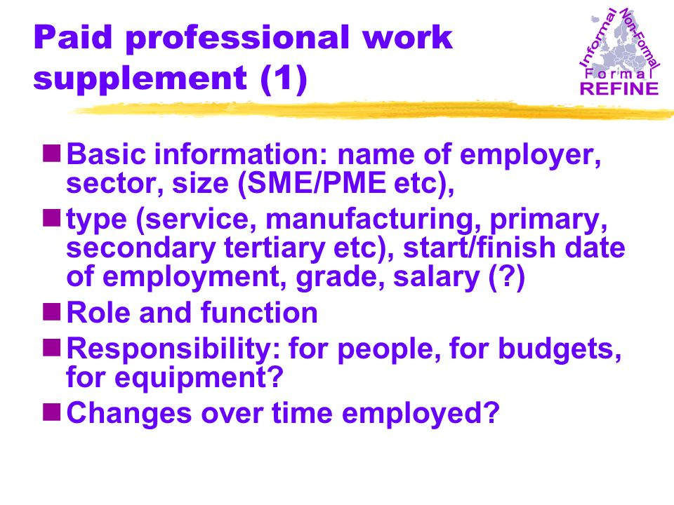 Paid professional work supplement (1) nBasic information: name of employer, sector, size (SME/PME etc), ntype (service, manufacturing, primary, secondary tertiary etc), start/finish date of employment, grade, salary ( ) nRole and function nResponsibility: for people, for budgets, for equipment.