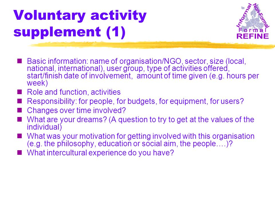 Voluntary activity supplement (1) nBasic information: name of organisation/NGO, sector, size (local, national, international), user group, type of act