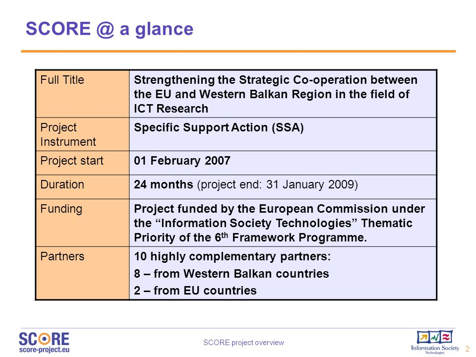 SCORE project overview 3 SCORE partners (Project Co-ordinator) ALBANIA BOSNIA - HERZEGOVINA FYR MACEDONIA SERBIA GREECEAUSTRIA INFORMATION SOCIETY SCG ECCF