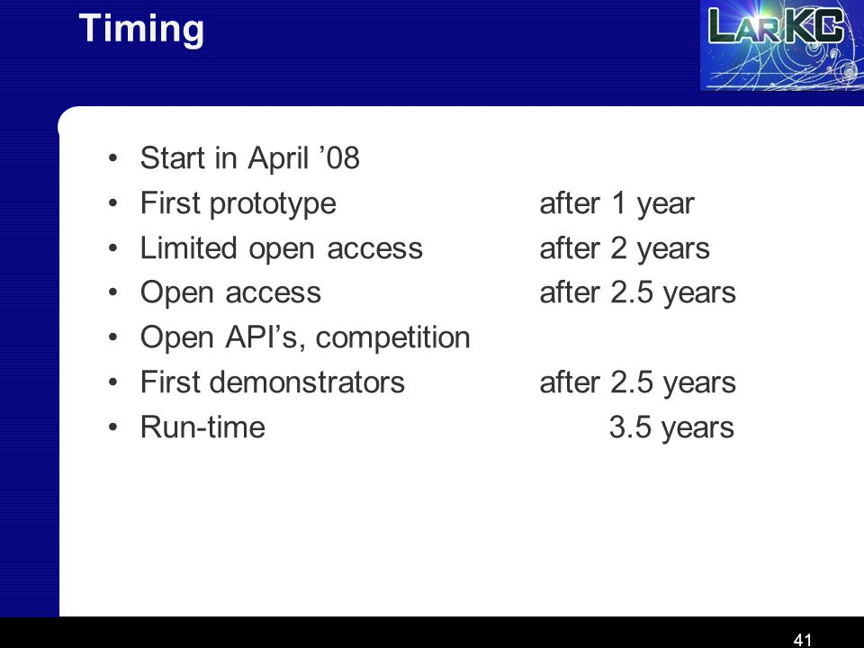 41 Timing Start in April 08 First prototype after 1 year Limited open access after 2 years Open access after 2.5 years Open APIs, competition First de