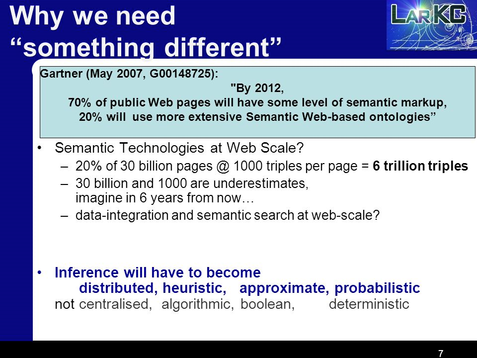7 Why we need something different Gartner (May 2007, G00148725):