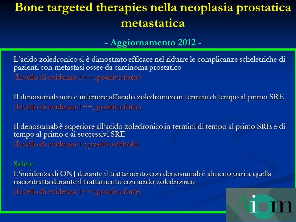 Bone targeted therapies nella neoplasia prostatica metastatica - Aggiornamento 2012 - Lacido zoledronico si è dimostrato efficace nel ridurre le compl
