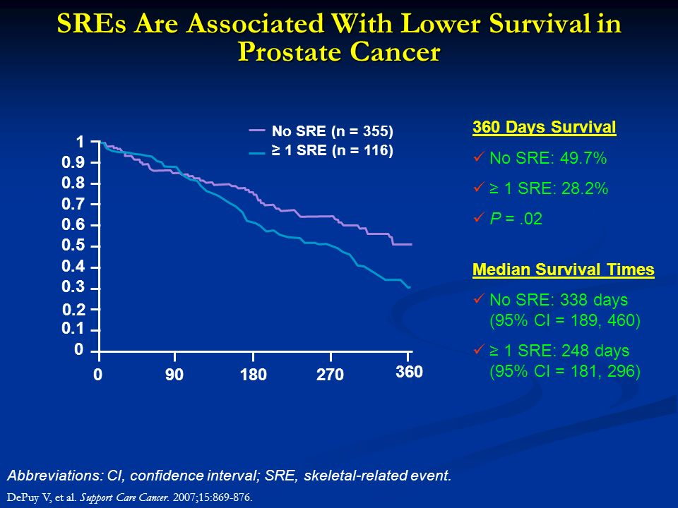 SREs Are Associated With Lower Survival in Prostate Cancer Abbreviations: CI, confidence interval; SRE, skeletal-related event. DePuy V, et al. Suppor