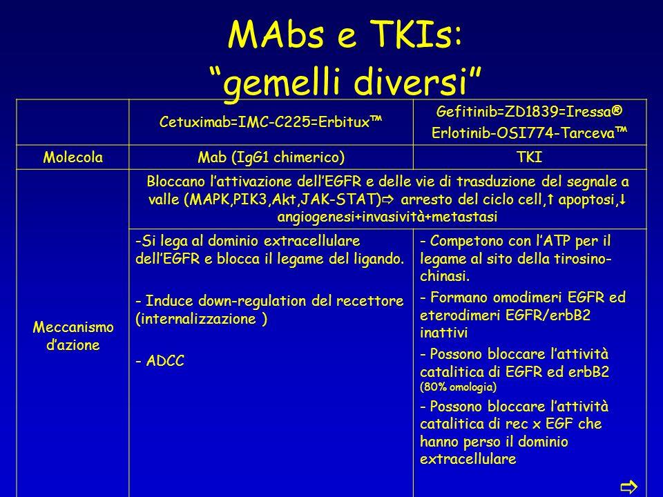MAbs e TKIs: gemelli diversi Cetuximab=IMC-C225=Erbitux Gefitinib=ZD1839=Iressa® Erlotinib-OSI774-Tarceva MolecolaMab (IgG1 chimerico)TKI Meccanismo d