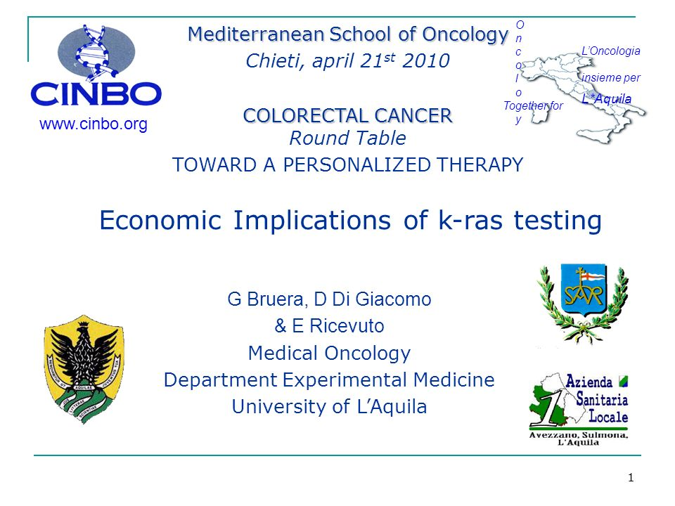 1 www.cinbo.org O n c o l o Together for y LOncologia insieme per L*Aquila G Bruera, D Di Giacomo & E Ricevuto Medical Oncology Department Experimental Medicine University of LAquila Mediterranean School of Oncology Chieti, april 21 st 2010 COLORECTAL CANCER COLORECTAL CANCER Round Table TOWARD A PERSONALIZED THERAPY Economic Implications of k-ras testing